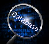 Magnifier Databases Represents Searching Magnification And Searches — Stock Photo