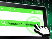 Computer Games Indicates World Wide Web And Entertaining — Stock Photo
