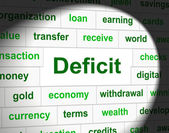 Debts Deficit Means Financial Obligation And Arrears — Stock Photo