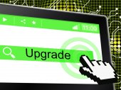 Upgrade Update Indicates Upgraded Updates And Improve — Stock Photo