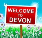 Welcome To Devon Indicates United Kingdom And Arrival — Stock Photo