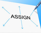Delegate Assign Indicates Task Management And Ascribe — Stock Photo