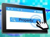 Property Online Shows World Wide Web And House — Stock Photo