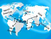 Worldwide Travel Represents Traveller Globally And Journey — Stock Photo