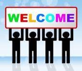 Welcome Hello Indicates How Are You And Arrival — Stock Photo