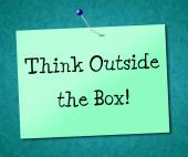 Think Outside Box Shows Originality Opinion And Ideas — Stockfoto