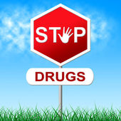 Stop Drugs Represents Warning Sign And Cocaine — Foto de Stock