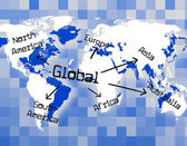 Global World Means Globally Commerce And Worldly — Stock Photo