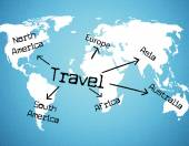 Worldwide Travel Means Tours Voyage And Traveller — Stock Photo
