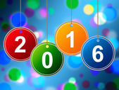 New Year Shows Two Thousand Sixteen And Annual — Stockfoto
