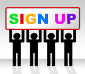 Sign Up Represents Join Subscribing And Admission — Stock Photo