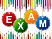 Exam Kids Means Youth Exams And Test — Stock Photo