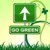 Go Green Means Earth Friendly And Arrow — Stock Photo