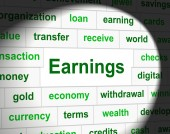 Earnings Revenue Indicates Wage Incomes And Employed — Photo