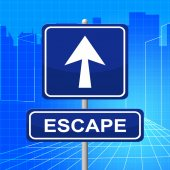 Escape Sign Represents Get Away And Arrows — Stock Photo