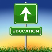 Education Sign Shows Study Advertisement And Schooling — Stock Photo