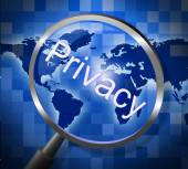 Magnifier Private Means Searching Restricted And Research — Stock Photo