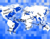 Worldwide Export Means Trading Exporting And Exported — Stock Photo