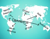 World E Commerce Shows Company Globalize And Selling — Stock Photo
