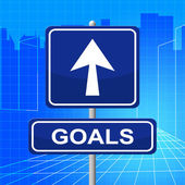 Goals Sign Represents Targeting Mission And Signboard — Stock Photo