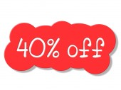 Forty Percent Off Indicates Closeout Cheap And Clearance — Stock Photo