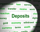 Deposit Deposits Represents Part Payment And Business — Stock Photo