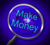 Make Money Indicates Earns Research And Wage — Stock Photo