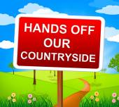 Hands Off Countryside Represents Go Away And Picturesque — Stock Photo