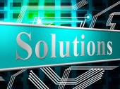 Solution Solutions Shows Advertisement Succeed And Solve — Stock Photo
