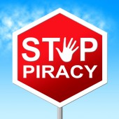 Piracy Stop Means Copy Right And Caution — Stock Photo