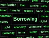 Borrow Debt Shows Arrears Finance And Liability — Stock Photo