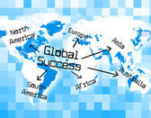 Global Success Means Winning Earth And Globe — Stock Photo