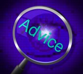 Advice Magnifier Means Inform Answers And Guidance — Stock Photo