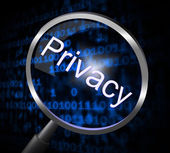 Privacy Magnifier Means Confidential Restricted And Search — Stock Photo