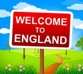 Welcome To England Shows United Kingdom And Greetings — Stock Photo