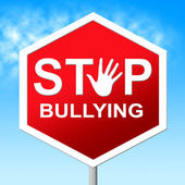 Stop Bullying Shows Push Around And Caution — Foto de Stock