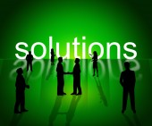Solutions Business Shows Company Resolution And Successful — Stock Photo