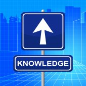 Knowledge Sign Represents Answer Inform And Pointing — Stock Photo