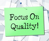 Focus On Quality Represents Certify Approve And Excellent — Stock Photo