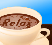 Relax Coffee Means Caffeine Resting And Coffeehouse — Stock Photo