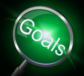 Goals Magnifier Indicates Magnifying Aspirations And Desires — Stock Photo