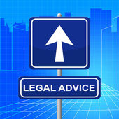 Legal Advice Means Pointing Sign And Legally — Stock Photo