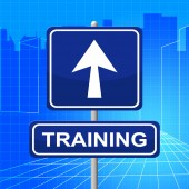 Training Sign Indicates Coaching Signboard And Learning — Stock Photo