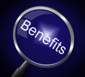 Magnifier Benefits Indicates Award Magnification And Pay — Stock Photo
