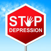 Stop Depression Shows Lost Hope And Caution — Stock Photo