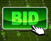 Bid Button Indicates World Wide Web And Auctioning — Stock Photo