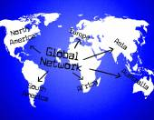 Global Network Shows Globalize Communication And Digital — Stock Photo