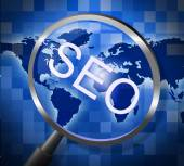 Seo Magnifier Indicates Websites Searching And Web — Stock Photo