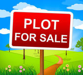 Plot For Sale Means Real Estate Agent And Hectares — Stock Photo