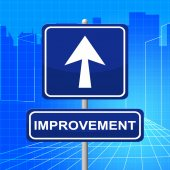 Improvement Sign Represents Upward Signboard And Pointing — Photo